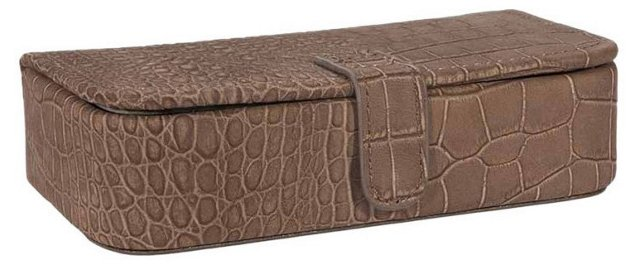 Medium Embossed Leather Jewelry Box