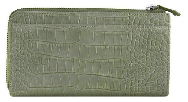 Large Leather Half-Zip Wallet, Moss