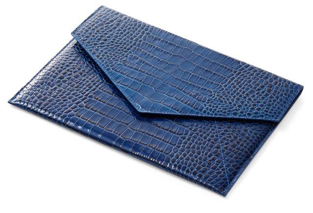Embossed Leather iPad Envelope, Blue