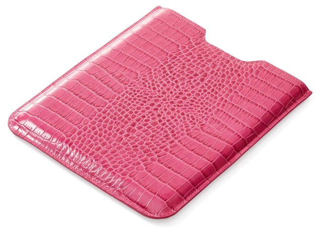 Embossed Leather iPad Sleeve, Pink