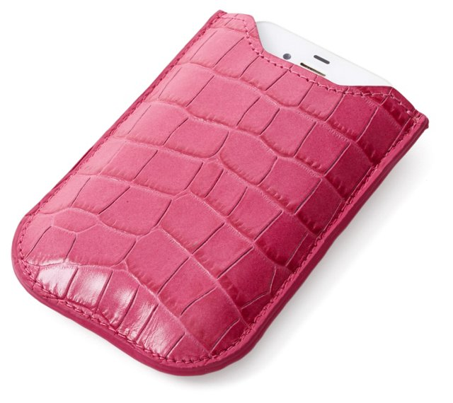 Embossed Leather iPhone Sleeve, Pink