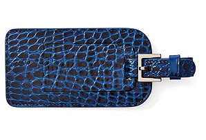 Embossed Leather Luggage Tag, Blue