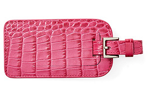 Embossed Leather Luggage Tag, Pink