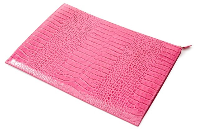 Embossed Leather Folio, Pink