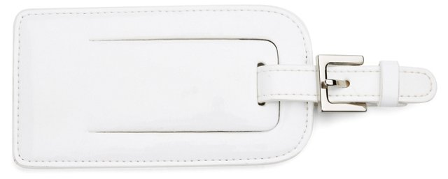 Patent Leather Luggage Tag, White