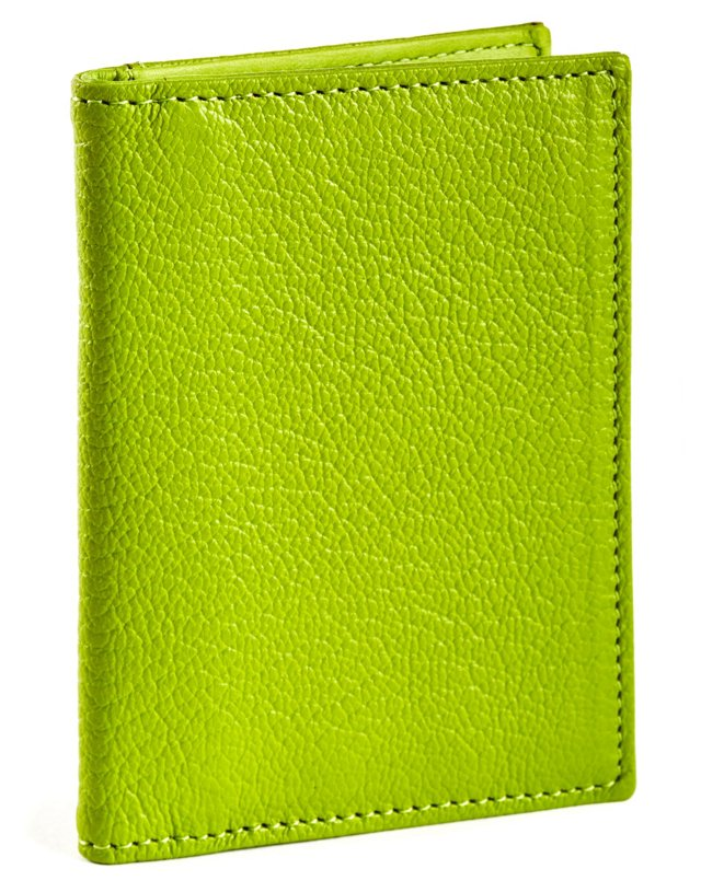 Goatskin Bi-Fold Wallet, Lime