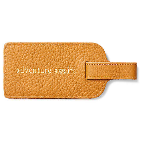 Adventure Awaits Luggage Tag, Tan