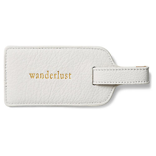 Wanderlust Luggage Tag, White