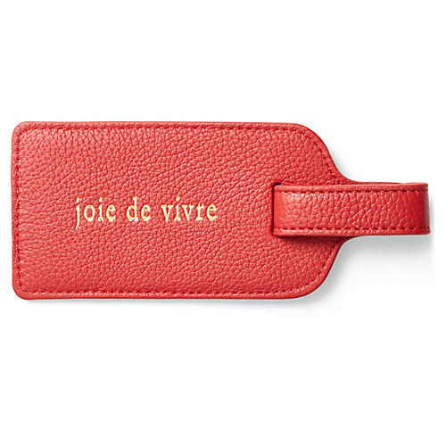 Joie de Vivre Luggage Tag, Red