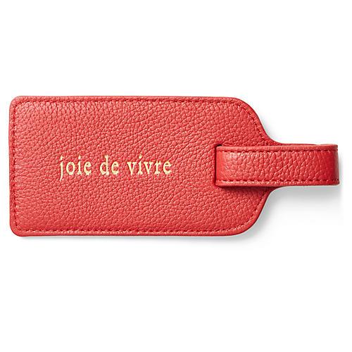 Joie de Vivre Luggage Tag, Red