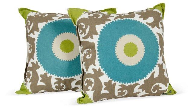 Aqua Circle Pillows, Pair
