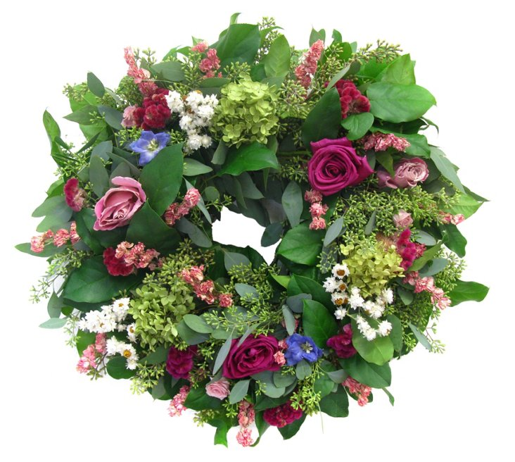 "20"" Roses & Hydrangea Wreath, Dried"