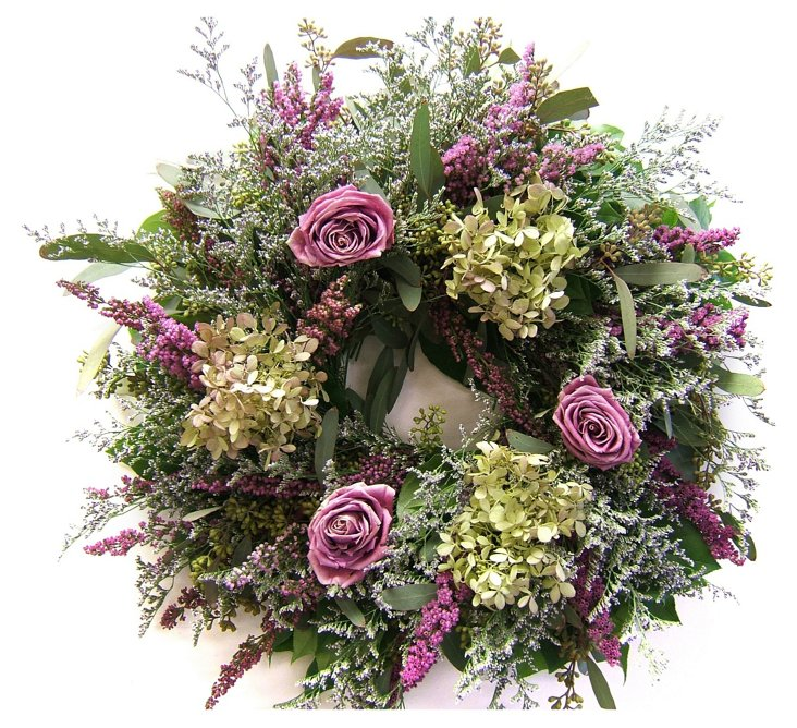 "20"" Misty Rose Wreath, Dried"