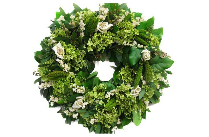 "18"" Roses & Eucalyptus Wreath, Dried"
