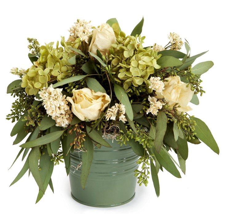 """13"""" Roses & Hydrangea in Bucket, Dried"""