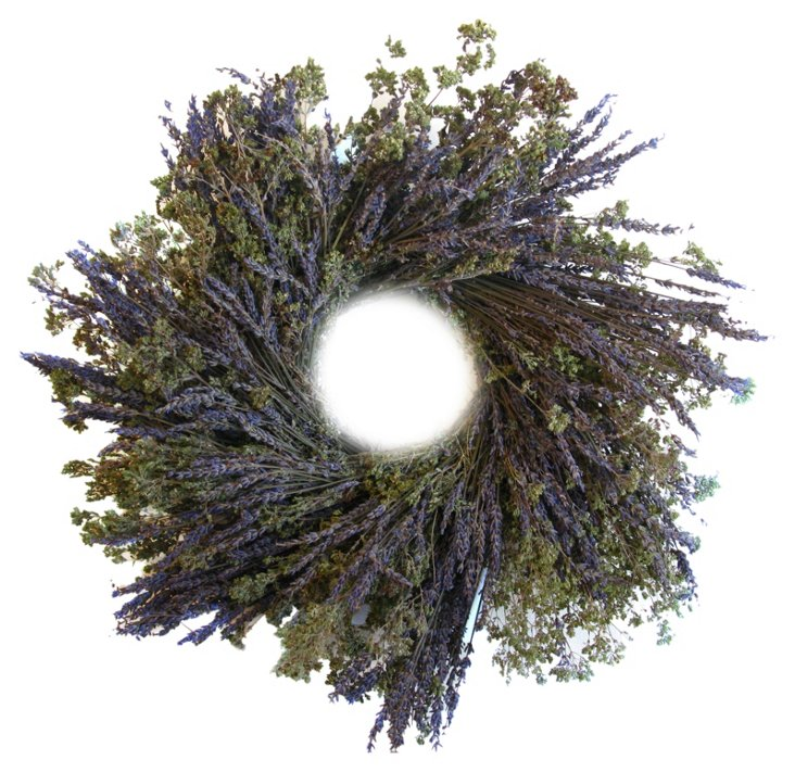 "16"" Lavender & Oregano Wreath, Dried"