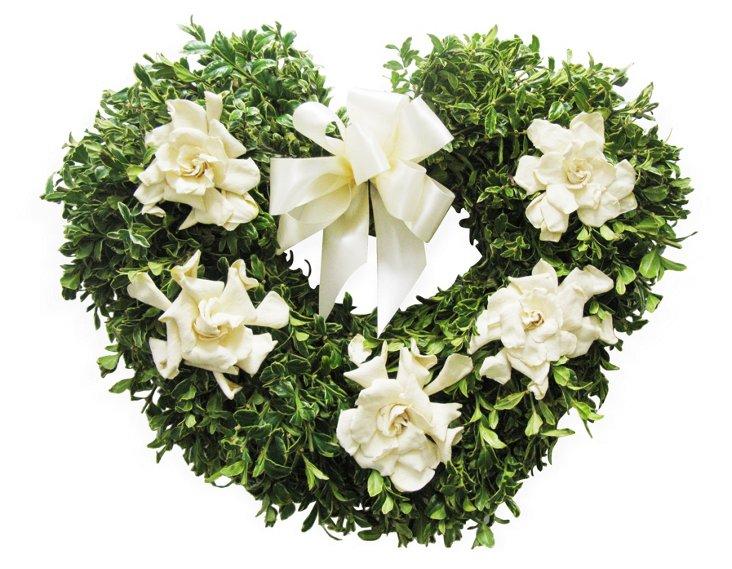 """17"""" Gardenia Heart Wreath"""