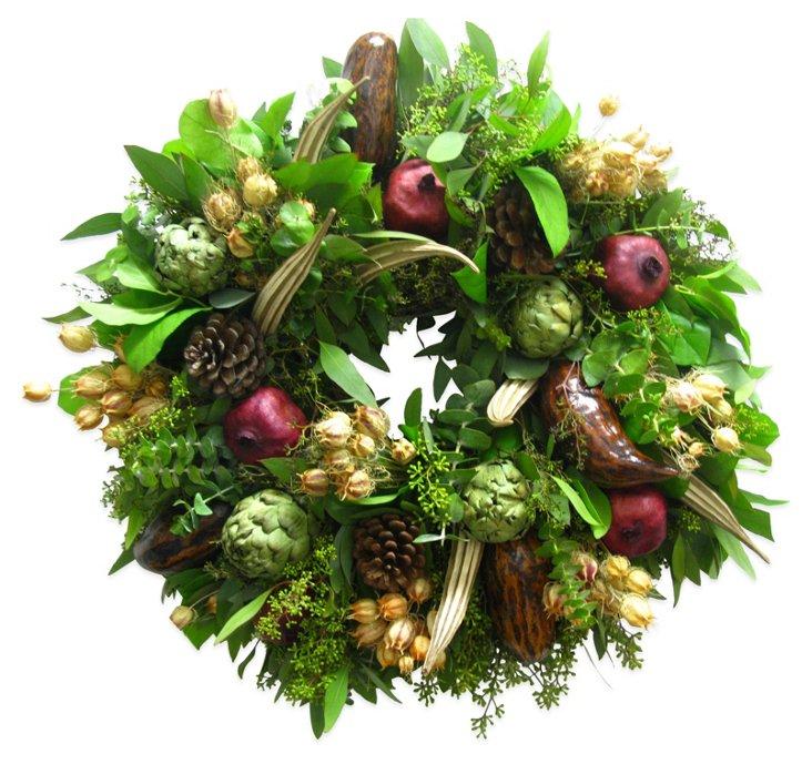 "18"" Pomegranate Festival Wreath, Dried"