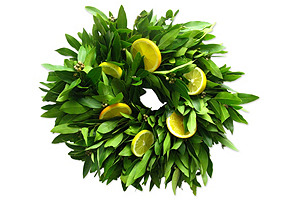 "18"" Bay Leaf & Citrus Wreath, Dried"
