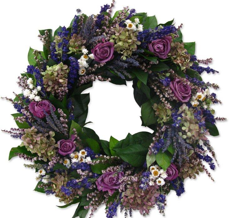 "18"" Roses & Hydrangea Wreath, Dried"