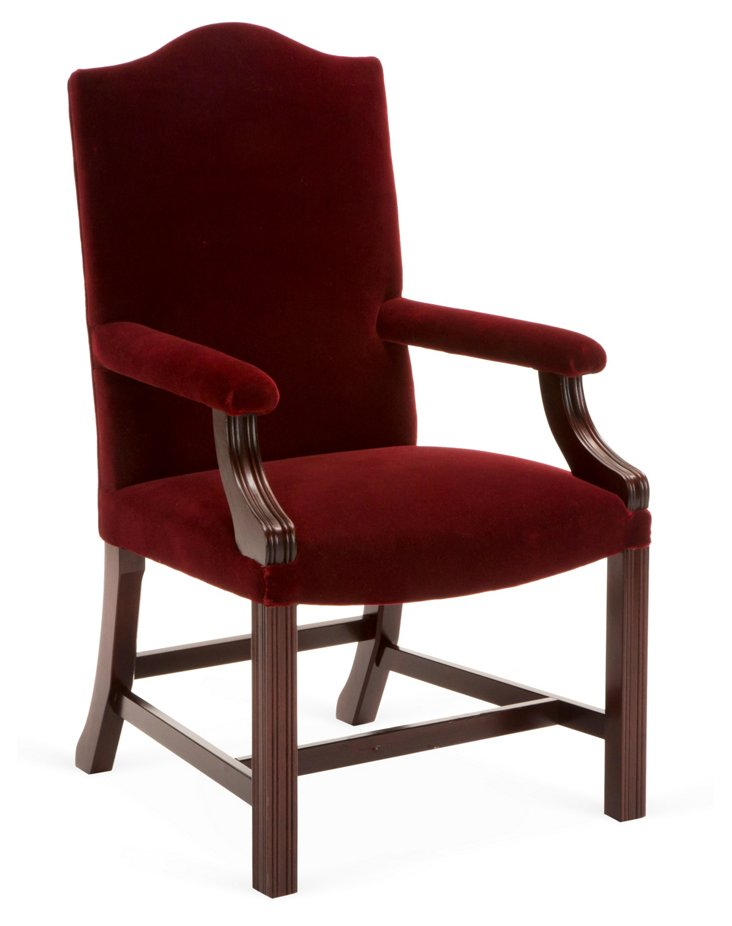 Gainsborough Carver Mohair Chair, Berry