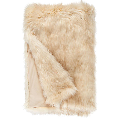 Faux-Fur Acrylic Throw, Polar Bear