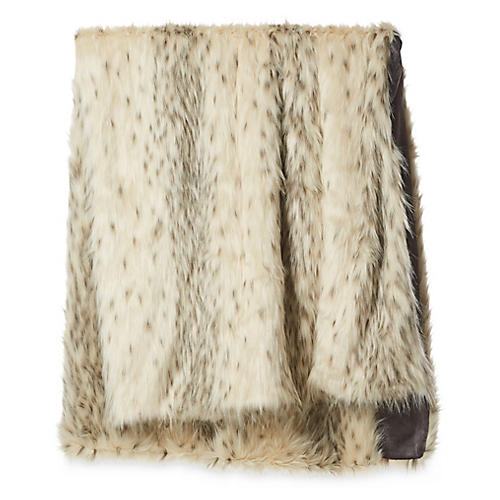 Faux-Fur Acrylic Throw, Arctic Leopard