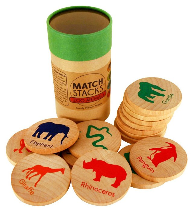 MatchStacks Memory Game, Zoo Animals
