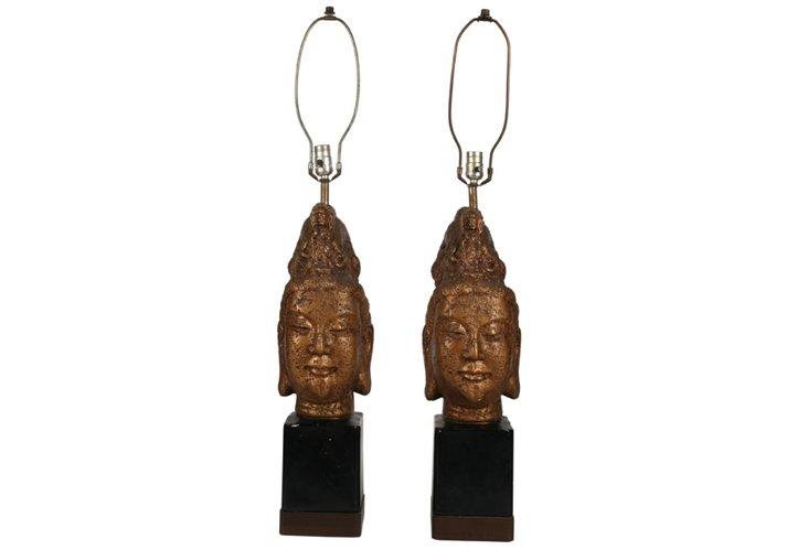 Buddha-Head Table Lamps, Pair