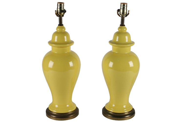 Canary Ginger-Jar Table Lamps, Pair