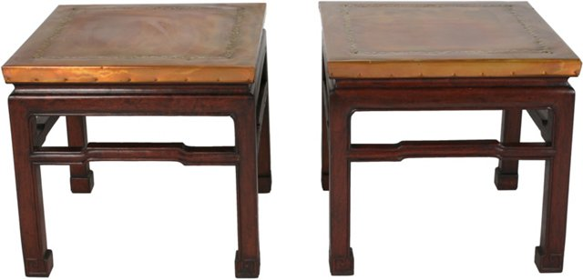 Asian-Style Copper Side Tables, Pair