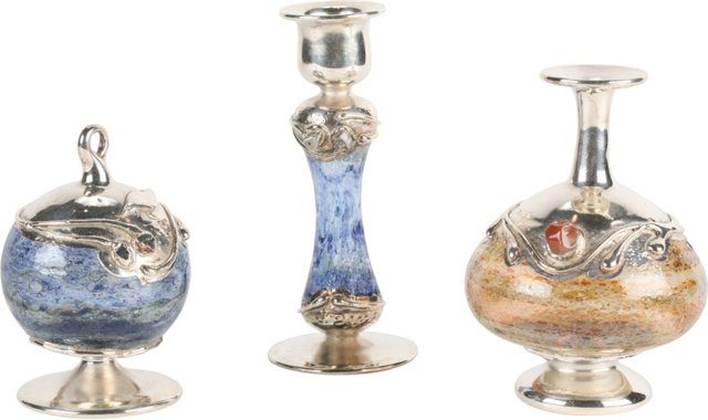 Sterling Silver & Glass Vases, Set of 3