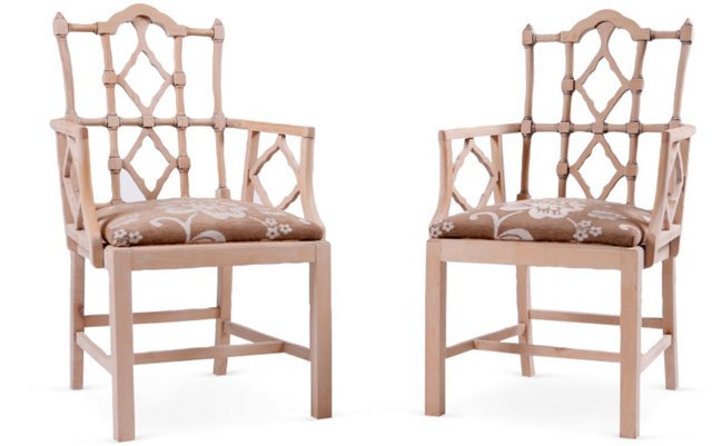 Chippendale-Style Armchairs, Pair