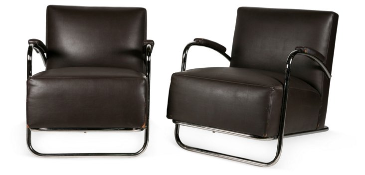 Deco-Style Armchairs, Pair