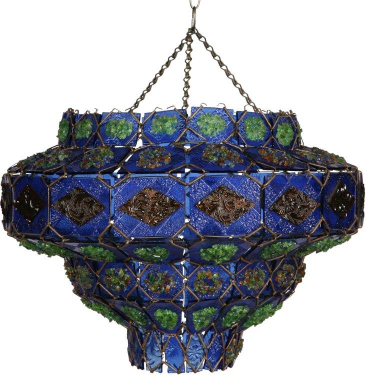 1960s Art Glass Hanging Light