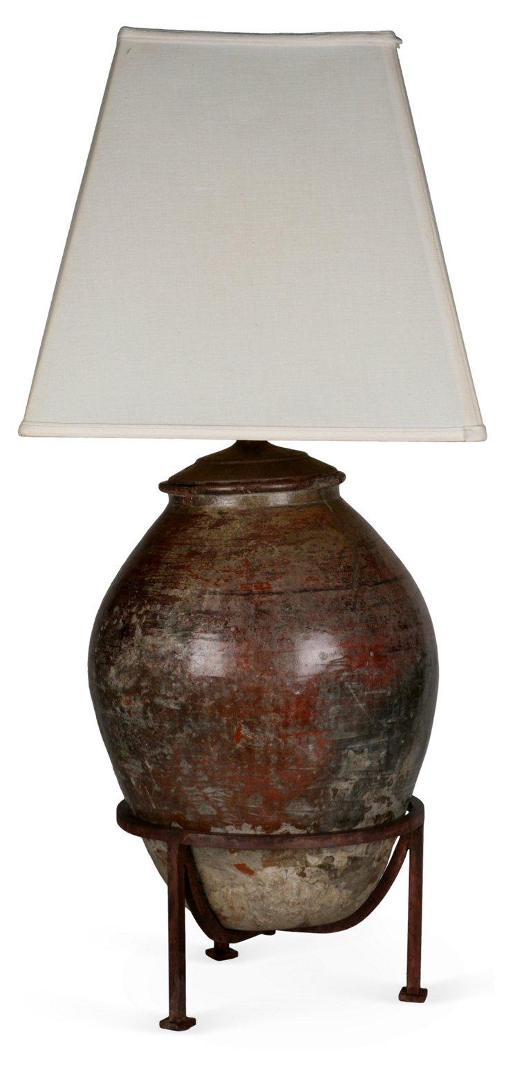 1930s Greek Terracotta Oil Jar Lamp