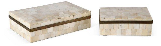 Mosaic Bone & Brass Boxes, Set of 2
