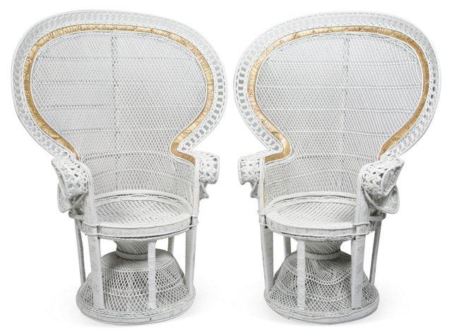 Peacock Wicker Chairs, Pair