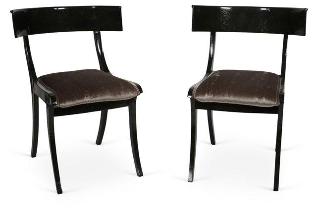 American Klismos Chairs, Pair