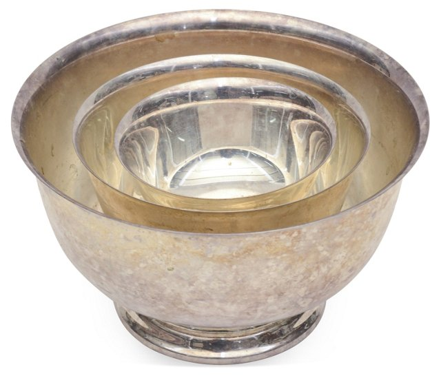 Silver-Plated Bowls, Set of 3