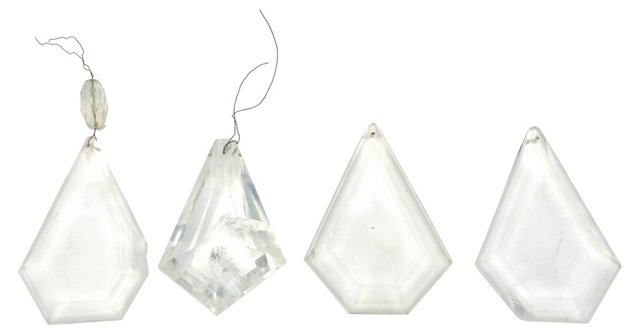 Raw Crystal Chandelier Drops, S/4