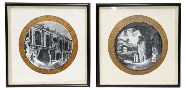 Framed Fornasetti Plates, Set of 2