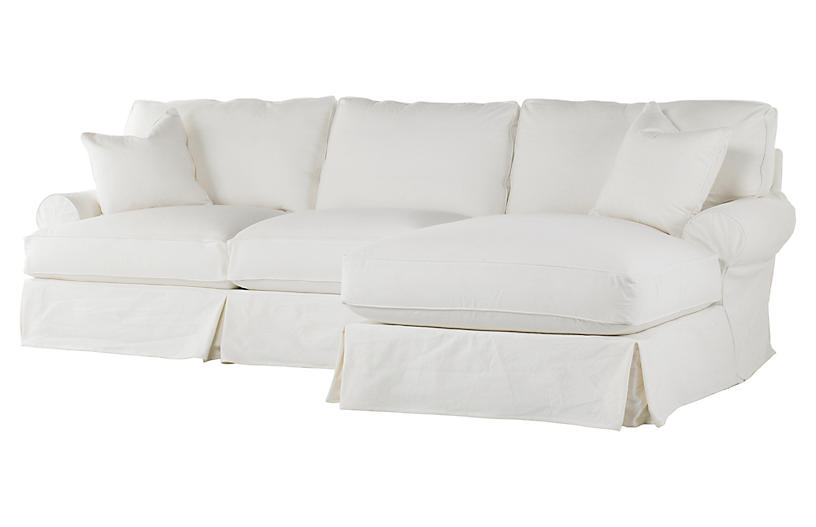 Comfy Slipcovered Sectional, White Denim
