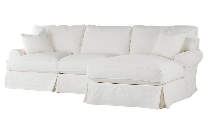 Comfy Slipcovered Sectional, White Denim