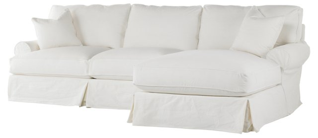Comfy Right-Facing Sectional, White