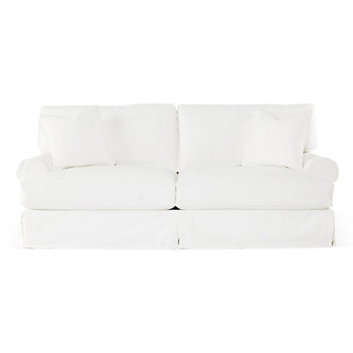 Comfy Slipcovered Sofa, White Denim