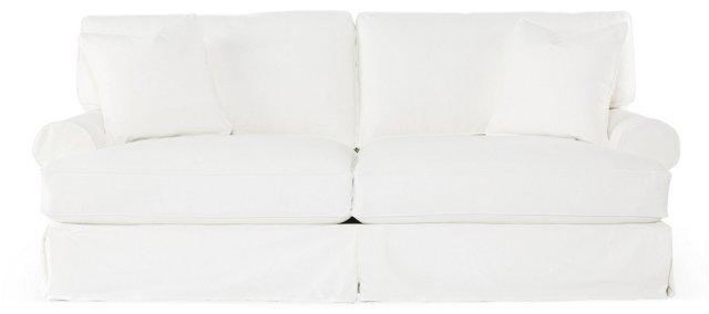 """Comfy 90"""" Slipcovered Sofa, White"""
