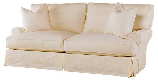 "Comfy 90"" Slipcovered Sofa, Linen"
