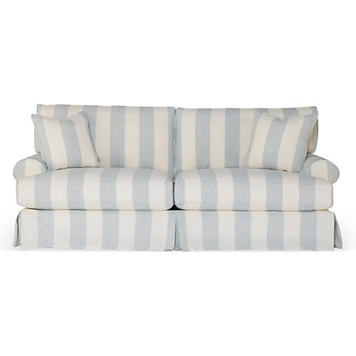 Comfy Slipcovered Sofa, Blue/White Stripe