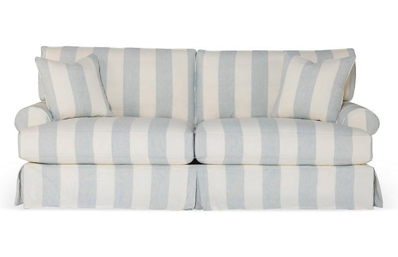 Comfy Slipcovered Sofa, Blue/White Stripe